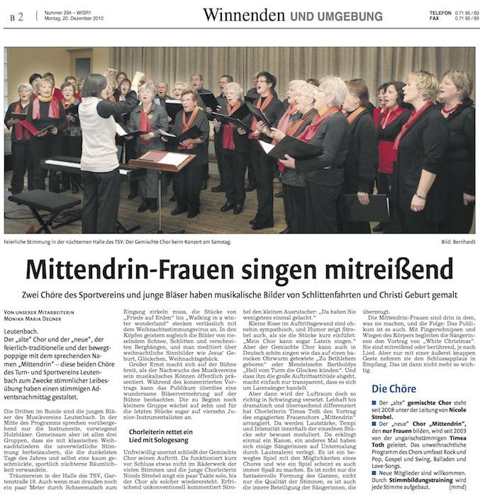 Zeitung Konzert gelbe Halle